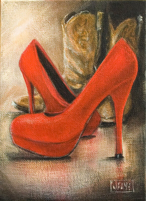 Red shoes and brown cowboy boots