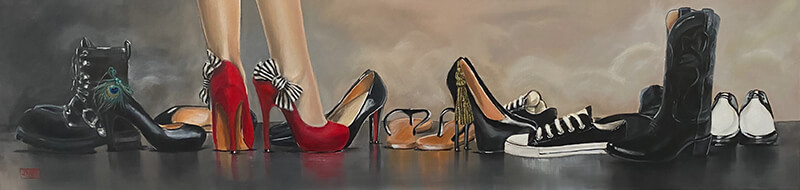 painting with a large assortment of shoes
