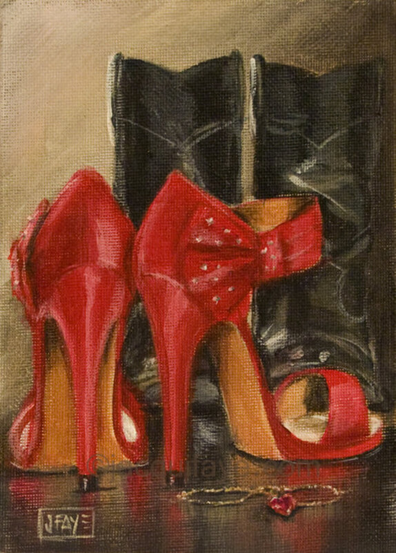Red High heels and black cowboy boots