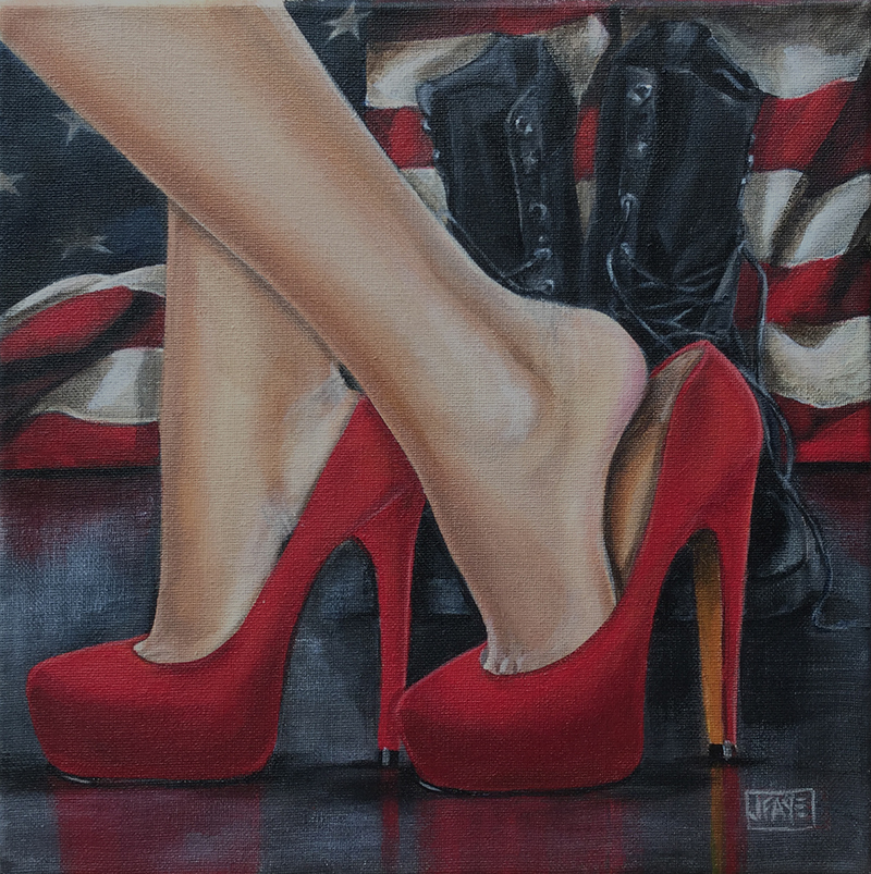 American flag, boots, and red high heels