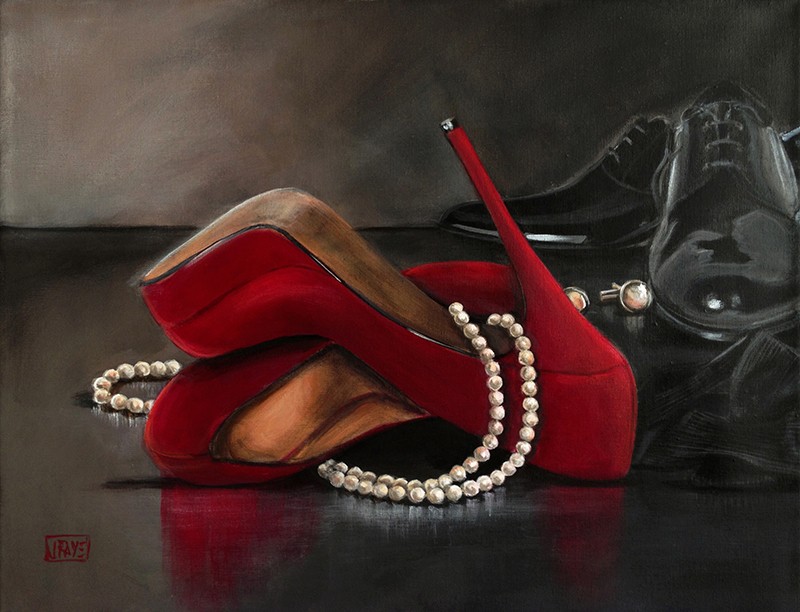 red heels, pearls, and tuxedo shoes